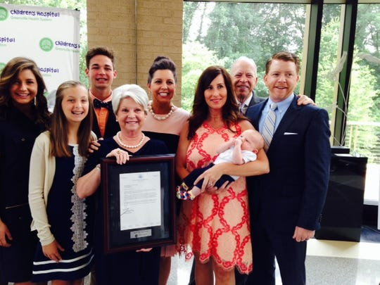 The Bradshaw family announcing the gift to fund the Bradshaw Institute for Community Child Health & Advocacy at GHS Wednesday.