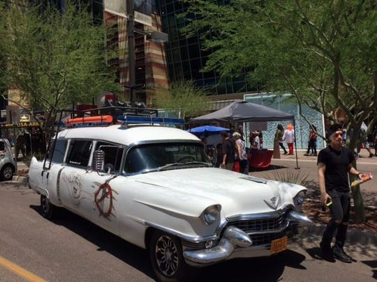 Cars from the Phoenix Comicon Car show in downtown