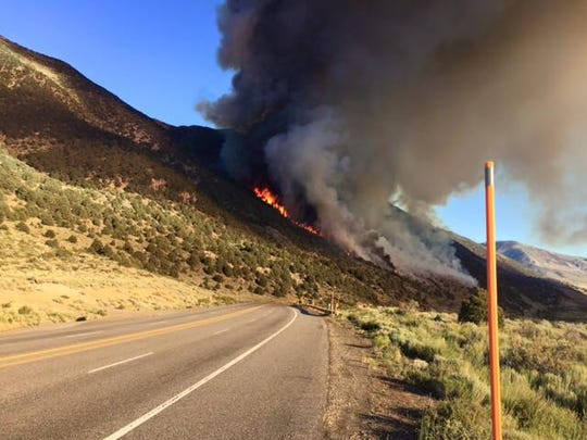 A view of the Marina Fire that sparked Friday north of Lee Vining, Calif., just west of U.S. 395.