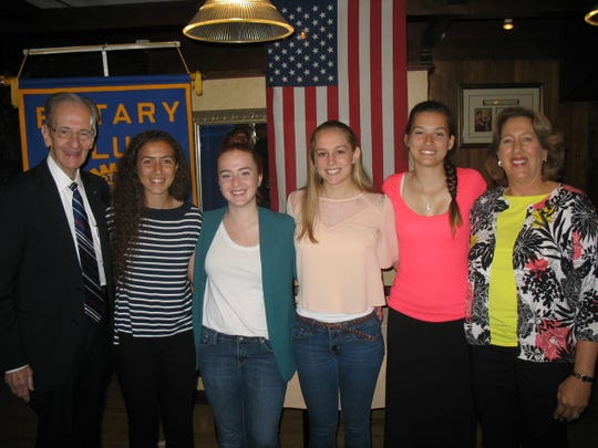 Left to right: Club member Bill Mundy, Dunellen High School students Alyssa Buccino, Isabella Guzzi, Rachel Herbig and Autum Thompson, Guidance Counsellor Randi Alexrad