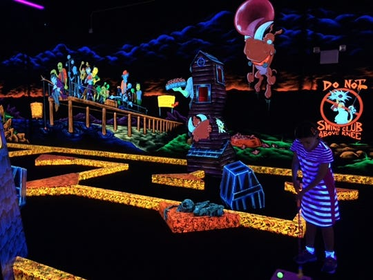 Let the glow guide you at Monster Mini-Golf!