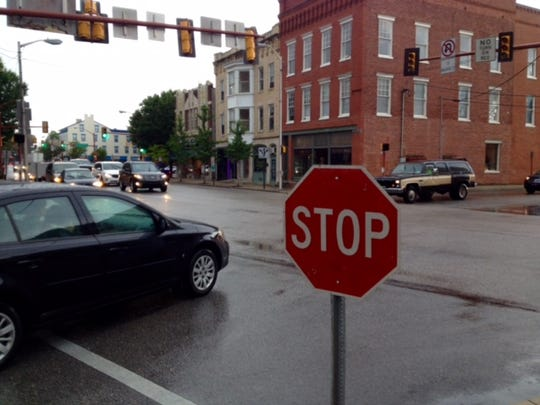 Hanover Borough Police Department placed stop signs at the intersection of Railroad and Broadway streets Monday after a power outage affected the traffic lights.