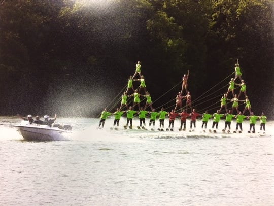 The Aqua Skiers grand pyramid during the 2000 Wisconsin