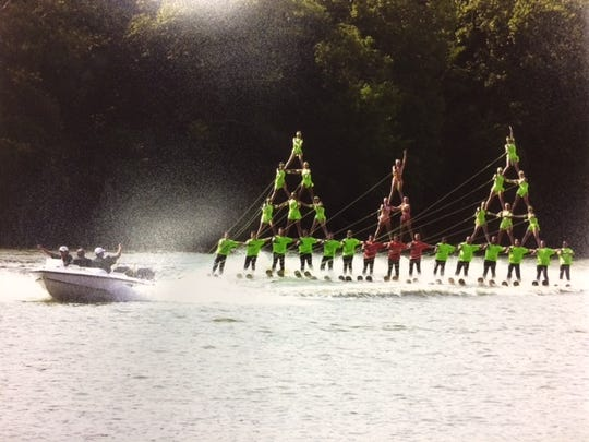 The Aqua Skiers grand pyramid during the 2000 Wisconsin State Water Ski Tournament.