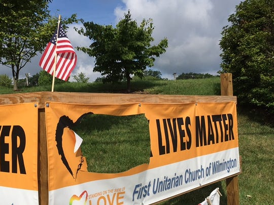 A Black Lives Matter banner hung on Concord Pike in Talleyville was vandalized over the weekend. It has since been replaced.