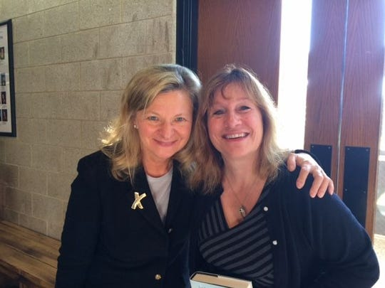 Colonia resident Adele Ellis, right, with author Lisa Scottoline at an author event last fall.