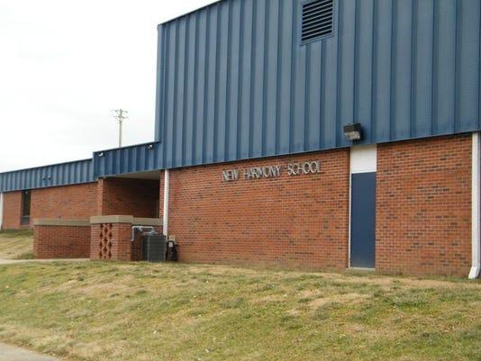 New Harmony school building