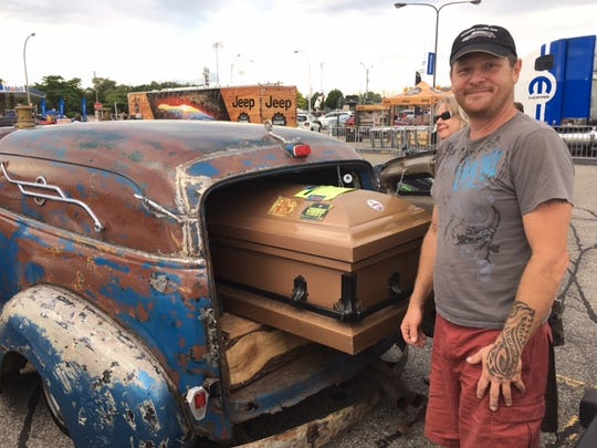 "A 1949-50 ""rat rod/truck/hearse"" owned by Will Dorr of South Lyon."