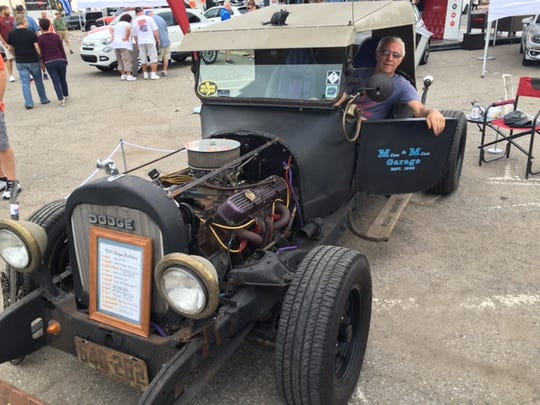 Miles Hoffer of Saginaw shows off his heavily modified 1920 Dodge Brothers.