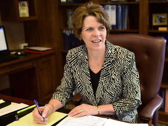 Franklin County President Judge Carol Van Horn in her office at the Franklin County Courthouse