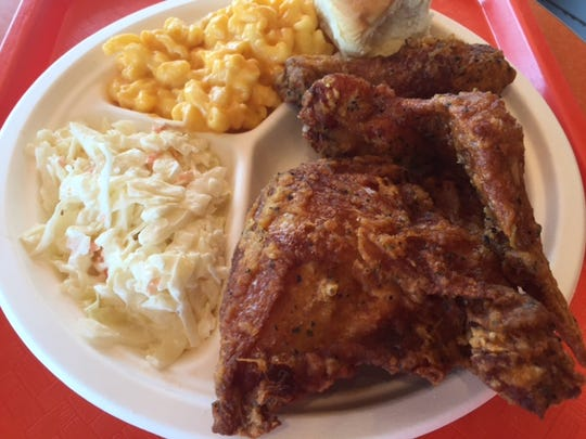 Fried chicken from Johnnie's Dog House & Chicken Shack can be paired with numerous sides like coleslaw and macaroni and cheese.