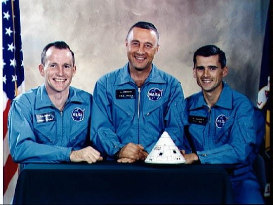 Astronauts Ed White, Gus Grissom and Roger Chaffee.