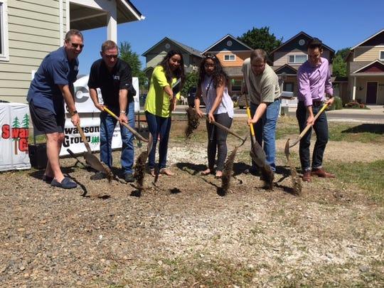 Ground breaking for the Springfield/Eugene Habitat for Humanity Nayeli Navarrete Bravo family project.