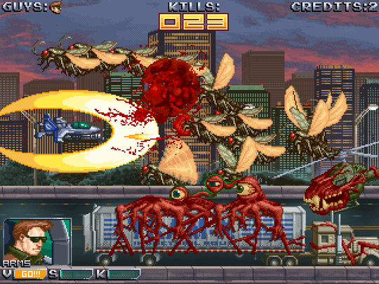 """A screenshot from """"Skycurser,"""" a modern-day arcade video game with an old-school feel."""