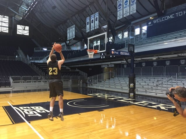 Plump's shot was re-staged at Hinkle Fieldhouse for the artist.