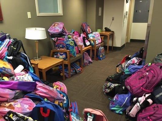 Backpacks fill Salem Health lobby