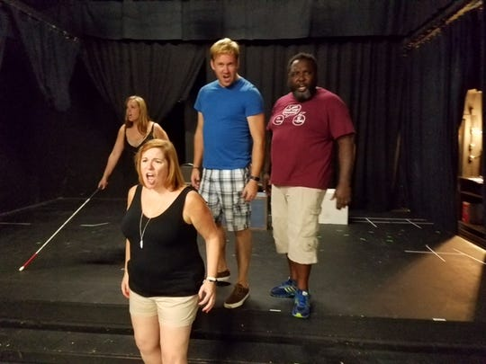"The musical version of the 1984 cult classic film ""The Toxic Avenger"" opens Sept. 30 in Newport's Falcon Theatre. Seen in rehearsal are cast members (from L) Katie McCarthy, Amy Grace Curtis, Zach Huffman and DeAndre Smith."
