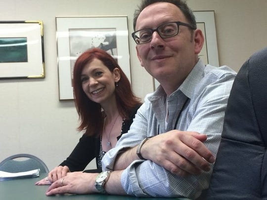 "Actress Carrie Preston, a UE grad, is pictured here with actor Michael Emerson. The two of the participants in last summer's New Harmony Project. Preston, a 1989 graduate, was nominated for Outstanding Guest Actress in a Drama Series for her portrayal of Elsbeth Tascioni in CBS's ""The Good Wife"" -- a role that earned her an Emmy nomination and win in 2013."