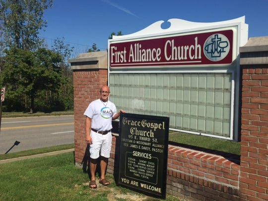 Pastor Mark Thomas of First Alliance Church said a new sign will be unveiled Sunday at the 291 W. Cook Road church  which is celebrating its 100th anniversary this year.