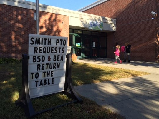 A sign outside of C.P. Smith Elementary School.