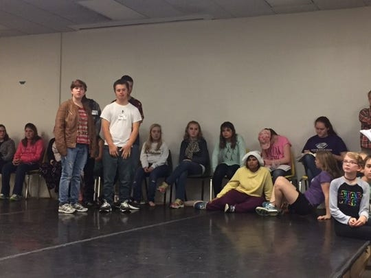 """Artists and mentors of the Penguin Project wait for rehearsals for """"Seussical Jr."""" to begin."""