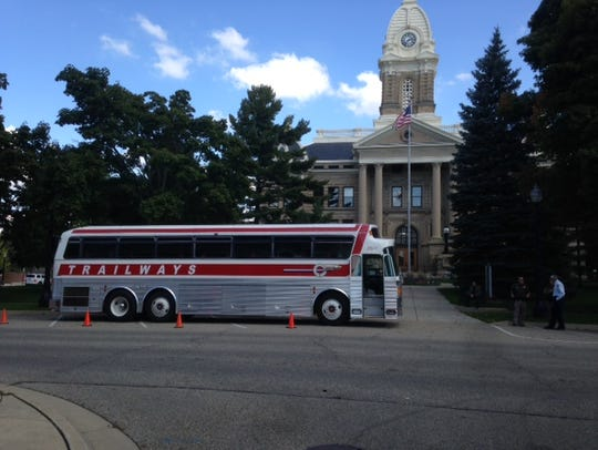 An old Trailways bus rolled around Mason on Tuesday