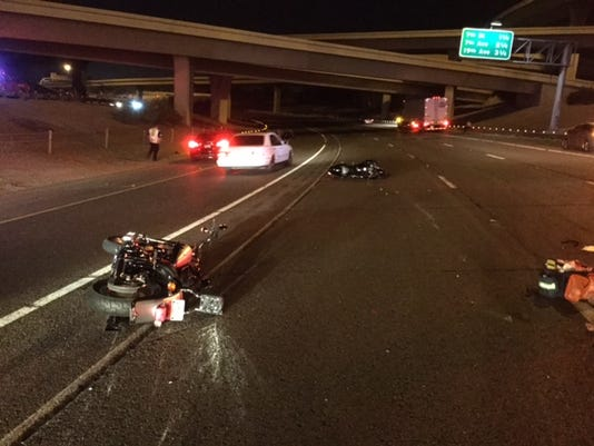 Motorcycle crash on Interstate 10 in Phoenix