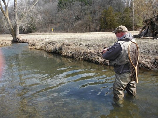 Len Harris on a stream which he guided for five years.