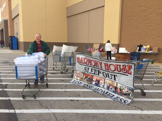 William O'Wings of Mansfield donated 10 pillows Friday during the Harmony House Sleep-Out for the Homeless fundraiser outside Walmart in Ontario.  The event continues until 10 a.m. Saturday.