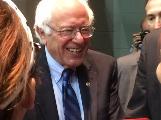 Bernie Sanders smiles at supporters after a rally at the Old National Events Plaza in May.