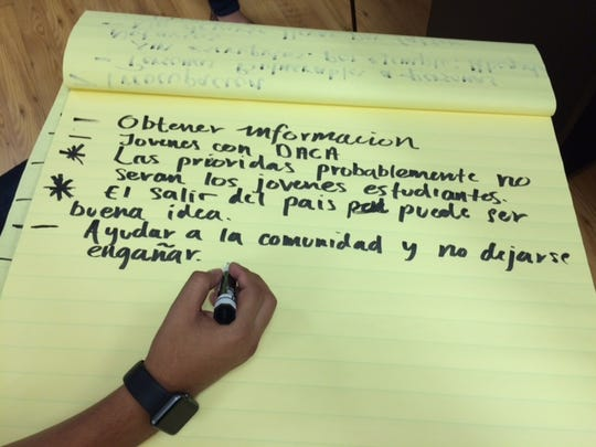 A note taker writes down questions during a recent Facebook Live session at Latino Memphis headquarters. Many are concerned about possible deportations during Trump's presidency.