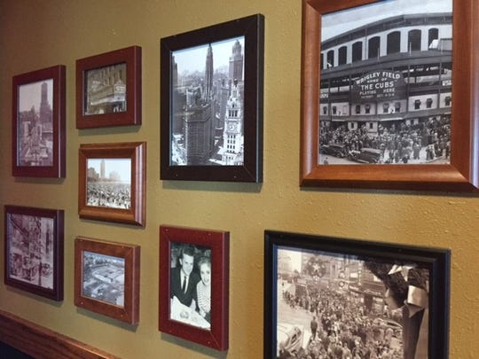The Rosati's building is decorated in Chicago-themed pictures, such as Wrigley Field, and Rosati family memories.