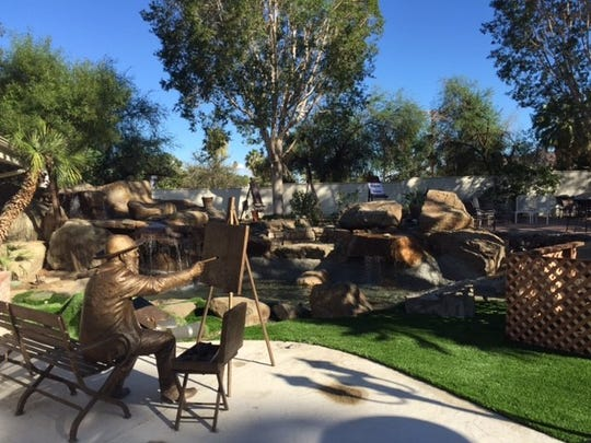 This bronze sculpture of artist Claude Monet, created by Gary Lee Price, sits in front of a stream that will serve as the Native American cultural demonstration area for Coachella Valley's Creative  Art Campus in La Quinta.