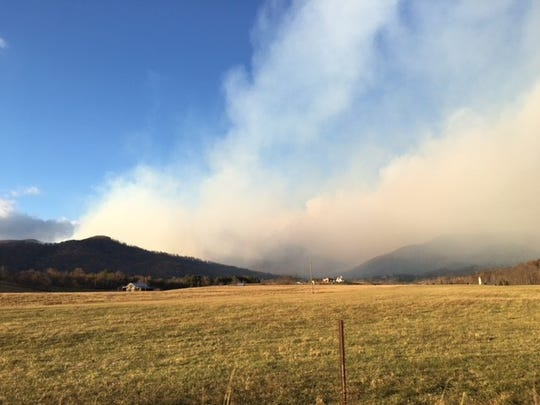 Wildfire in George Washington National Forest near Thrashers Creek in Amherst County.