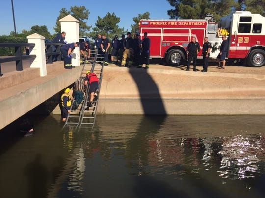 The Phoenix Fire Department used a ladder to assist