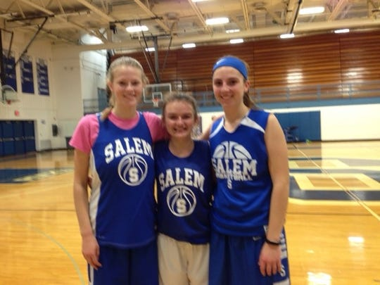 Salem senior co-captains (from left) Jayna Lenders, Darby Scott and Emily Stewart are all-in on leading the 2016-17 Rocks.