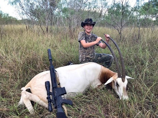 Eric Swisher, 9, killed this scimitar oryx while hunting on a Kenedy County ranch.