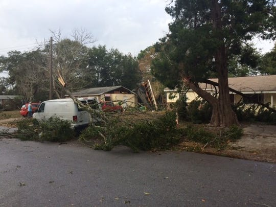 The Okaloosa County Sheriff's Office responded to suspected tornado damage on Kohler Drive in Mary Esther.