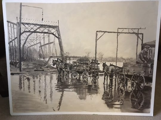 """High St. Flood"" painted by Tom Heatherly as part of the 1920s Muncie mural being displayed during First Thursday at Muncie Civic Theatre."