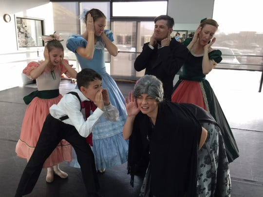 "Annika Johnson, Jacob Sheridan, Lindsay Mathers, Alex Kaskie, Molly Story Arbogast and Carlee Bertero rehearsing for the Party Scene in SNB's ""Peanutcracker: The Story in a Nutshell."""