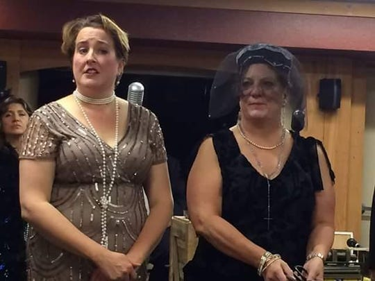 """Aumsville Community Theatre: Linda Cashin (left) and Mary Kukowski are among the suspects during Aumsville Community Theatre's production of """"The Mafia Murders"""""""