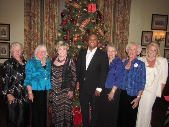 Julia Shiflett, Harriet Hodge, Charleene Edwards, Hallerin Hilton Hill, Jane Venable, KSL President Rhonda Webster and Susan White at the Rhapsody in Blue Ball.
