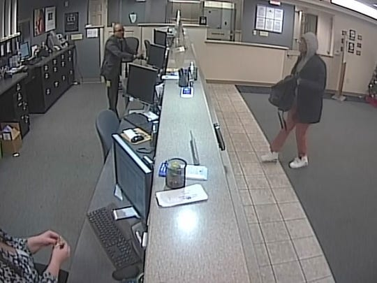 Surveillance footage from a robbery at Fifth Third Bank on Nolensville Pike in Nashville on Dec. 30, 2016.