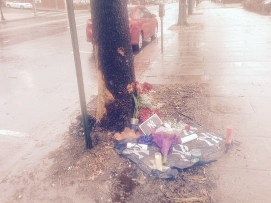 Memorial on Mamaroneck Avenue in White Plains set up