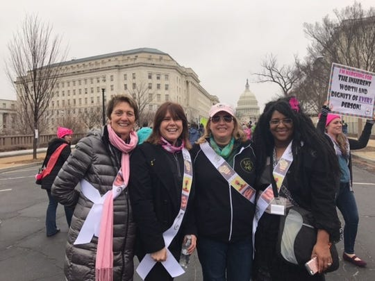 Fond du Lac residents, from left: Sharon Teschke, Leslie Jaber-Wilson, along with Amy Kuerschner, Neenah, and Sabrina Robins of Appleton, traveled by bus to Washington D.C. to attend Saturday's March on Washington.