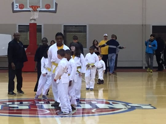 Youth from Kids Kicking Cancer worked with the Pistons