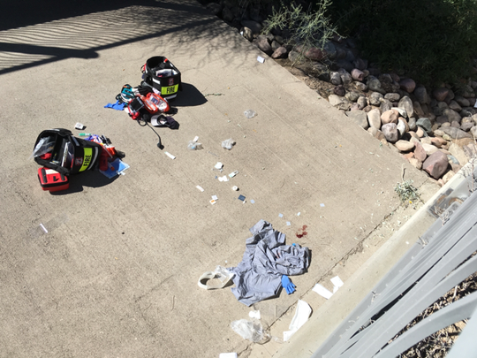 A fire crew rescues an intoxicated man who fell 15