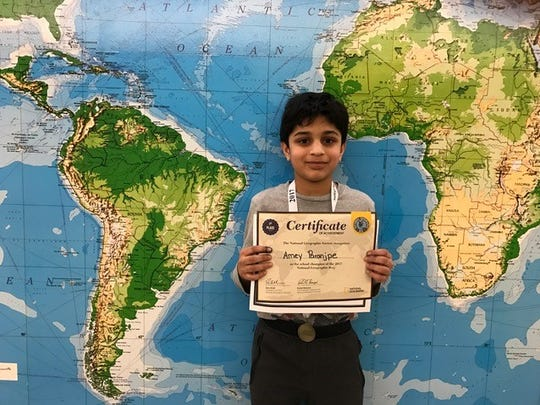 Amey Paranjpe, a fifth grade student at Eisenhower Intermediate School, won the school wide competition of the National Geographic Bee on Friday, January 20.