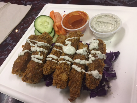 Sanctuary Vegan Cafe offers fried tofu fingers.