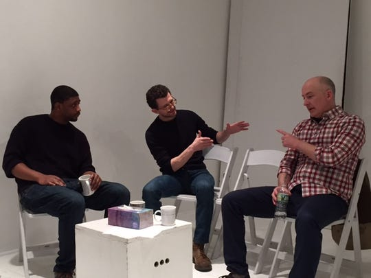"From left: Isaiah Seward (Ray),  Josh Marcantel (Dan) and James Wilcox (Marty) rehearse for ""Inappropriate Relationship."""